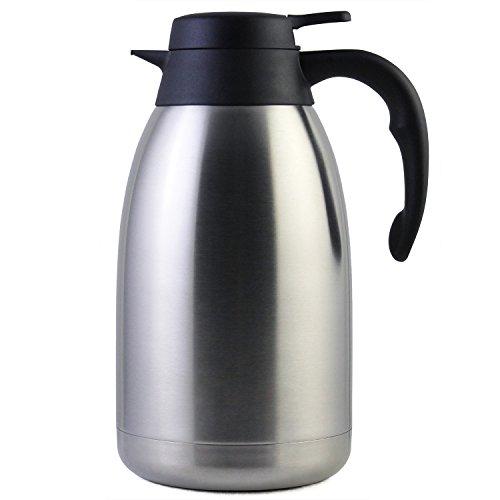 2 Liter Edelstahl Thermoskanne, Teekanne, Kaffeekanne, und Isolierkanne mit 12 Stunden Wärmespeicherung – doppelwandige Vakuum Tee und Kaffee Thermokanne – 2L Isolier Kanne von Cresimo