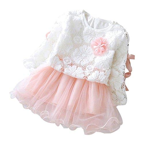 Hirolan Herbst Kinder Mädchen Party Spitze Tutu Prinzessin Kleid Säugling Baby Kleider Outfits (80cm, Rosa)