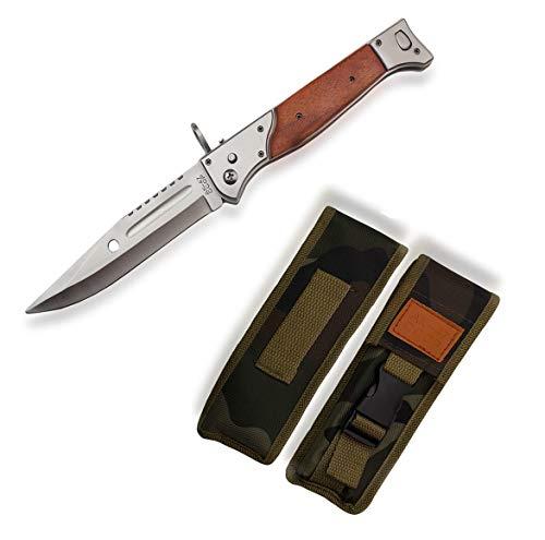 KOSxBO® großes Taschenmesser - AK47 Messer mit Holzgriff - 32 cm Gesamtlänge - ohne Springfeder - legales Messer - AK 47 Klappmesser Gürtelmesser - Freizeit Messer - Kampfmesser -