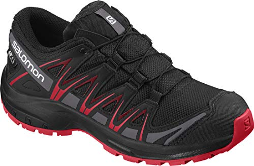 Salomon Kinder Sportschuhe, XA PRO 3D CSWP J, Farbe: schwarz/rot (Black/Black/High Risk Red), Größe: EU 34