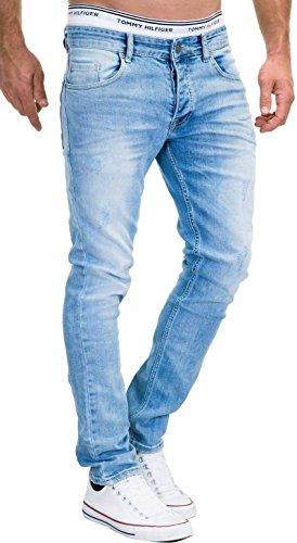 MERISH Jeans Herren Slim Fit Stretch Hose Jeanshose Denim 9148 (36-30, 9148 Hellblau)