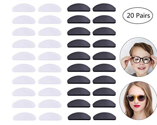 Brille Selbstklebend,20 Paar Anti Rutsch Silikon Brillen Pads Silikon-Nasenpads für Brillen-Sonnenbrillen