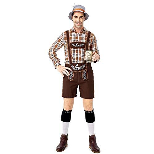 🔥Herren Oktoberfest Kostüm Bayerische Bierstube Tops Herren Hosen Set und Hut Cosplay Halloween Bar Kostüm Set Beer festlich Bieranzug Deutsches Bierfest Dienstmädchen Lederhosen Trachtenhemden