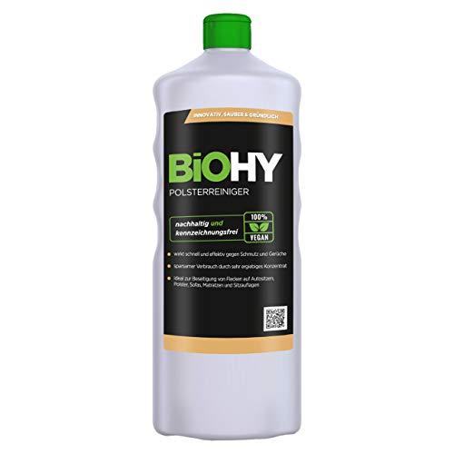 BIOHY Spezial Polsterreiniger 1 Liter Flasche   Ideal für Autositze, Sofas, Matratzen etc.   Ebenfalls für Waschsauger geeignet