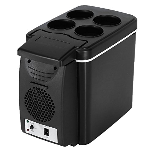 Autoinbox Auto-Kühlschrank, 12V, Camping, tragbarer Reise-Kühlschrank, 6 l, Kühler/Wärmer, Heizung, multifunktionale, elektrische Kühlbox, Mini-Kühlschrank, schwarz