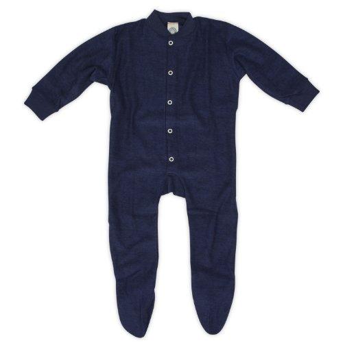 Cosilana Baby Schlafanzug mit Fuß, Farbe Marine, Größe 80, Woll-Frottee 100% Schurwolle kbT