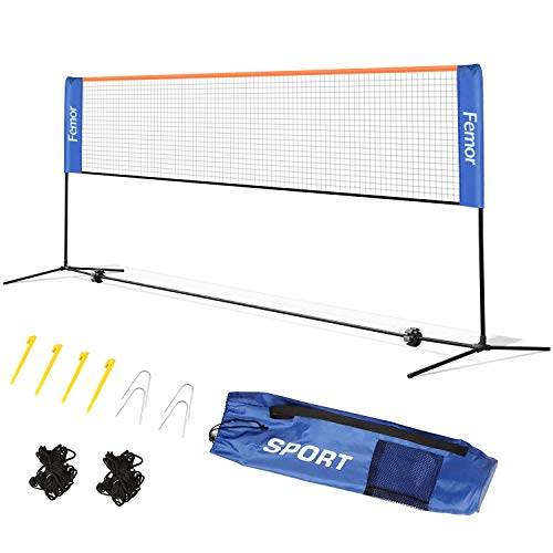 femor Badmintonnetz 4m Tennisnetz höhenverstellbar, faltbares Federballnetz, Out-Door Trainingsnetz Easy-Netz, 3 Höhe: 85/120/155cm