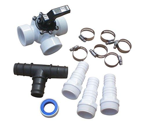 SPIRATO Pool Bypass Set 3-Wege-Ventil mit Schlauchtüllen 32/38mm, Rohrschellen, T-Stück und Teflonband, für Solarheizung und Wärmepumpen