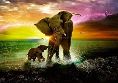 Generic Puzzlecao 1000 Teile Puzzle Elefant Sonnenuntergang Unterhaltungsfreizeit-Parteiweihnachtsneujahrsfeiertagsgeschenkreise der hölzernen Malereibildkunstdekoration Erwachsene Kinder