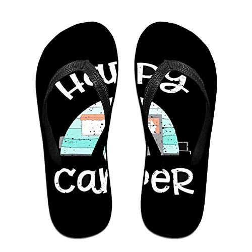 Happy Camper Unisex Adults Casual Flip-Flops Sandal Pool Party Slippers Bathroom Flats Open Toed Slide Shoes Medium