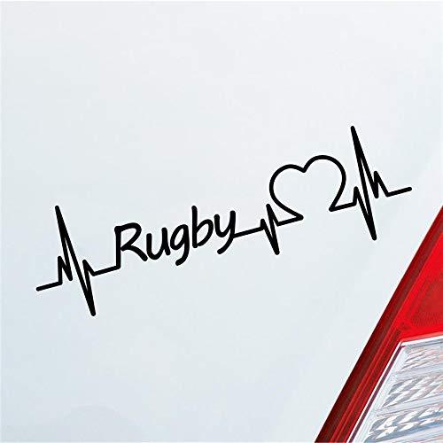 Hellweg Druckerei Auto Aufkleber Rugby Herzschlag Wettkampf Team Ballsport Sport Sticker Liebe Schwarz Matt