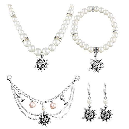 MJARTORIA 4er Damen Trachtenschmuck Oktoberfest Dirndl Schmuck Set Accessoires Edelweiß Perlen Charivari Kette Armband Ohrringe Geschenk für Trachten