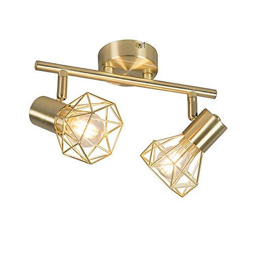 QAZQA Modern Art Deco Spot/Spotlight/Deckenspot/Deckenstrahler/Strahler/Lampe/Leuchte Messing drehbar und neigbar - Mosh 2-flammig/Innenbeleuchtung/Wohnzimmerlampe/Schlafzimmer/Küc