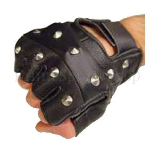 PrimeLeather - Hochwertige Handschuhe Echtes Leder Schwarz Mit Nieten Fingerlos Biker Punk Gothic Fahren Radfahren Mittelgroß
