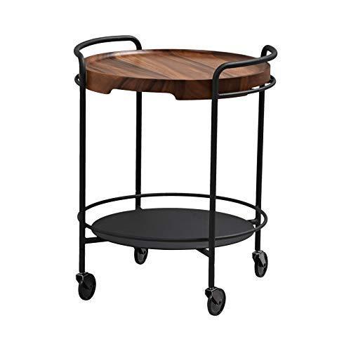 SACKit - SERVEit beistelltische/tabletttisch auf Rollen aus schwarzen Metall mit eine runde baumscheibe aus braun Akazienholz - Perfekt für Wohnzimmer & Schlafzimmer - 68x55 cm - Dänisches Design