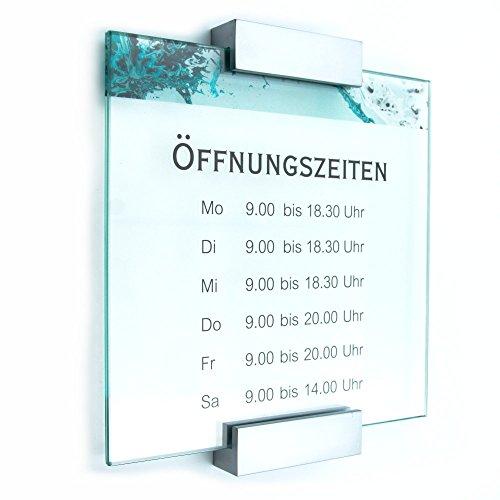 Türschild Glas,Vitrum A mit Blockhalter (200/200 mm)