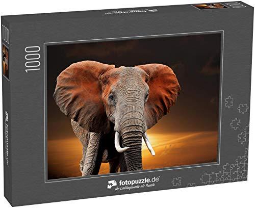Puzzle 1000 Teile Elefant bei Sonnenuntergang im Nationalpark von Kenia, Afrika - Klassische Puzzle mit edler Motiv-Schachtel, Fotopuzzle-Kollektion 'Tiere'