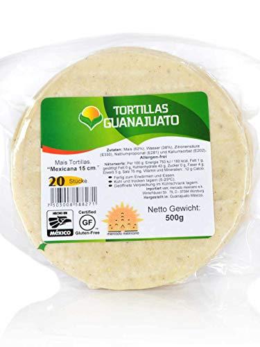 Weiße Maistortillas Mexicana Guanajuato glutenfrei, 15cm, 20 Stück (500gr.)