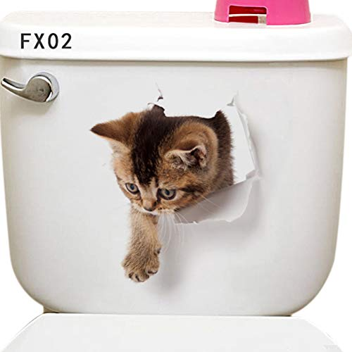 Comtervi 3D Katze/Hund Wandaufkleber Wandtattoo WC Deckel Wasserfest Aufkleber Badezimmer Wandsticker Kühlschrank DIY Sticker Kinderzimmer Schlafzimmer