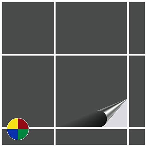 FoLIESEN Fliesenaufkleber, Dunkelgrau matt, 80 Stück