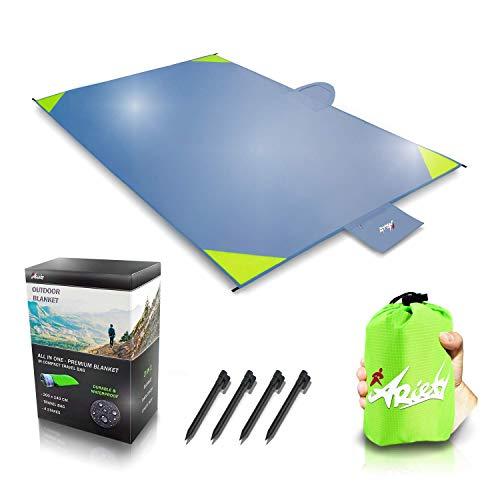 ARiety Outdoor Decke - XXL Picknick-Decke wasserdicht, ultraleicht und Regenponcho - Strandtuch grau - Sitzunterlage für Strand, Camping, Wandern, Backpacker, Yoga, Festival