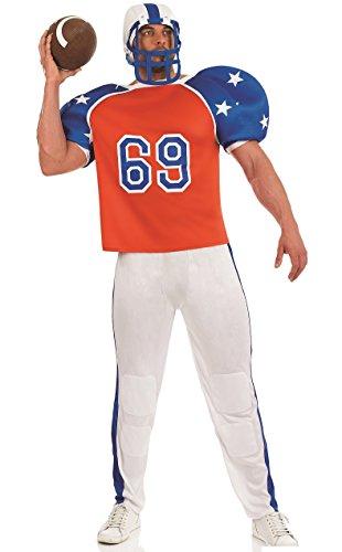 Herren American Footballer Stag Do USA Quarterback Sport Kostüm Outfit M-XL (Medium) rot-weiß