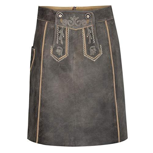 Almsach Damen Trachten-Mode kurzer Lederhosen Rock Veronika in Braun traditionell, Größe:32, Farbe:Braun