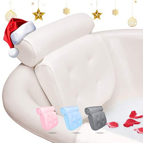 Essort Badewannenkissen,Komfort badewanne kopfkissen mit Saugnäpfen, badewanne nackenpolste für Home Spa Whirlpools, Badekissen Kopfstütze (38 x 36 x 8.5 cm) (Weiß)
