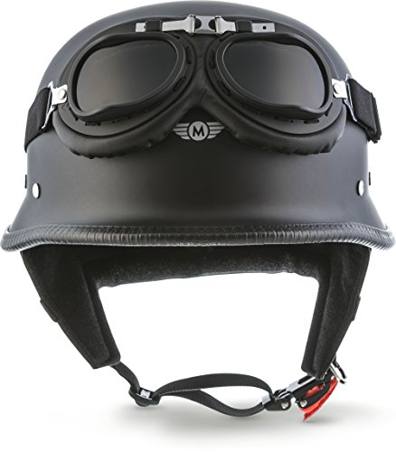 "Moto Helmets® D33-Set ""Matt Black"" · Brain-Cap · Halbschale Jet-Helm Motorrad-Helm Roller-Helm Scooter-Helm Bobber Mofa-Helm Chopper Retro Cruiser Vintage Pilot Biker Helmet Brille · S (55-56cm)"