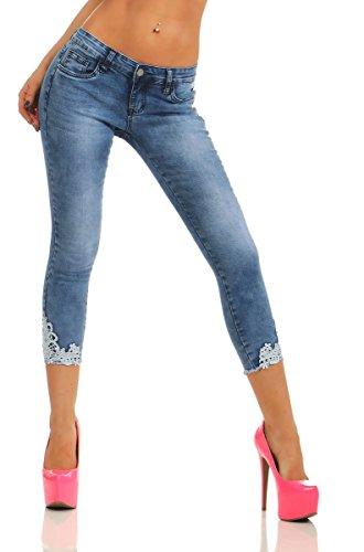 Fashion4Young 11440 Damen Capri Jeans 7/8-Jeans Slimline Damenjeans Caprihose Spitze Streetwear Pants Slim-Fit (blau, M-38)