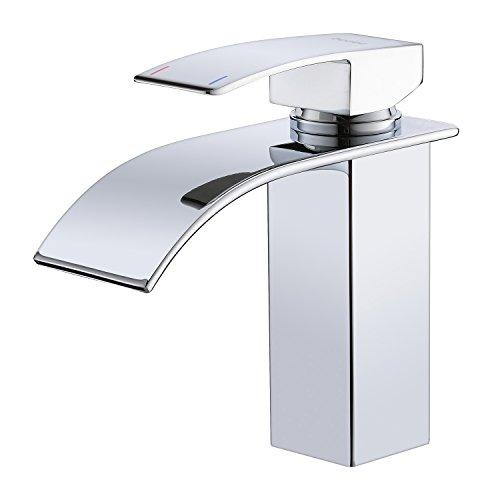 Chrom Wasserfall Wasserhahn, bedee Waschtisch Einhebelmischer Küche Bad Einhandarmatur, Heißes und Kaltes Wasser Verfügbar, Standard 3/8 Zoll Anschluss für Badezimmer Waschbecken Waschtischarmatur