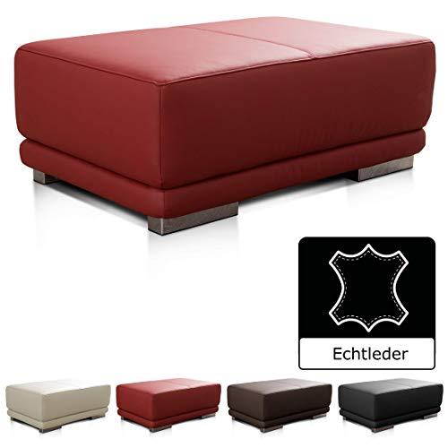 CAVADORE Lederhocker Corianne / Rechteckiger Beistellhocker in Echtleder / 103 x 41 x 69 / Echtleder rot