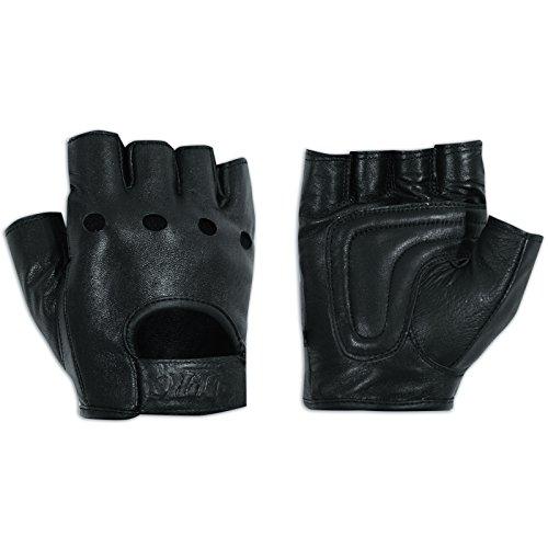 A-Pro Fingerlose Handschuhe aus weichem Leder Motorrad Rindsleder Punk Schwarz 3XL