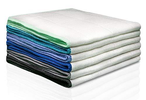 100% Bambus Tücher ohne Mikrofaser [6 STÜCK - 30x30cm] - Bambustücher als Putztücher, Hochglanztücher, Kristalltücher, Geschirrtücher, Fenstertücher, Silberputztücher, oder Glastücher verwenden