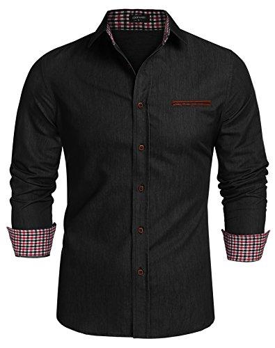 Coofandy Jeanshemden Herren regular fit Denim Shirt Langarmhemd Cowboy-Style Freizeit Hemden , Farbe - Schwarz , Gr. S