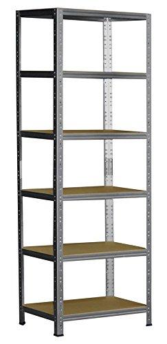 Schwerlastregal 180 x 30 x 50 cm mit 6 Böden Stecksystem aus Metall verzinkt: Metallregal geeignet als Kellerregal, Lagerregal, Archivregal, Ordnerregal, Werkstattregal