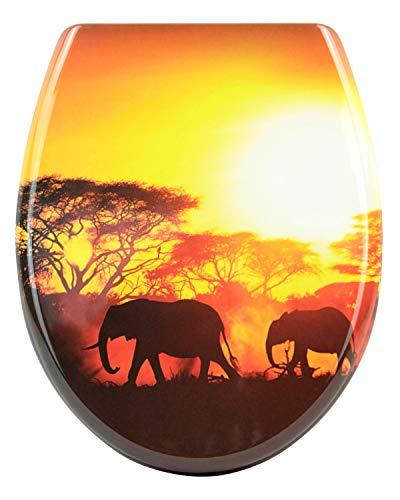 Sareno WC Sitz mit Absenkautomatik Duroplast Klodeckel Toilettendeckel Toilettensitz, Motiv:Elefanten-Sonnenuntergang, Absenkautomatik:mit Absenkautomatik
