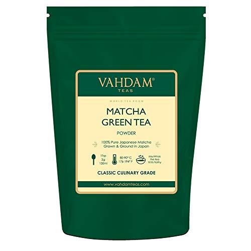 VAHDAM, Matcha-Grünteepulver (100gr 50 Tassen), 100% zertifiziertes reines und ungemischtes japanisches Matcha-Pulver, klassischer kulinarischer Matcha-Tee   137x Anti-OXIDANTS   Steigert die Energie