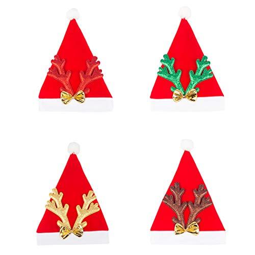 Kapmore Weihnachten Dekoration 4 STÜCKE Weihnachten Hut Kreative Bowknot Elch Geweih Weihnachtsmütze Kostüm Hut für Erwachsene