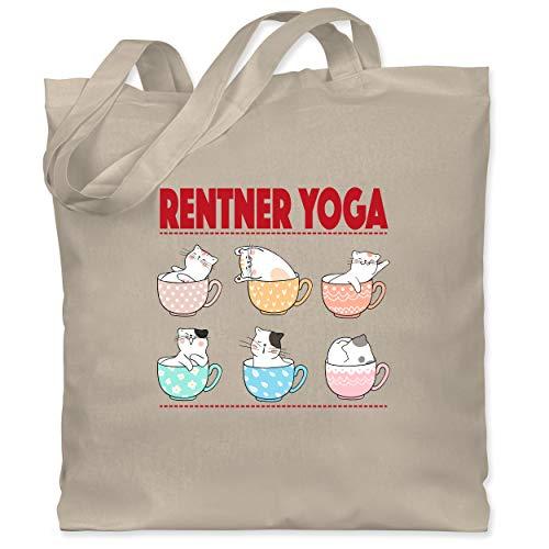 Statement Shirts - Rentner Yoga Katzen in Tassen - Unisize - Naturweiß - WM101 - Stoffbeutel aus Baumwolle Jutebeutel lange Henkel