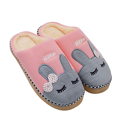 Sporzin Unisex Winter Baumwolle Pantoffeln Hausschuhe, Pink, Gr.- 37-38 EU/ Herstellergröße: 38-39