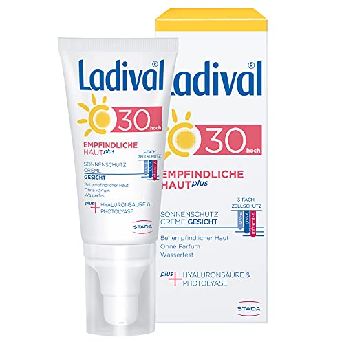 Ladival Empfindliche Haut Plus Sonnenschutz Creme für das Gesicht LSF 30 Parfümfreie Sonnencreme ohne Farb und Konservierungsstoffe wasserfest, 50 ml