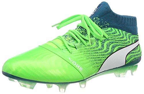Puma Herren ONE 18.1 FG Fußballschuhe, Grün (Green Gecko White-Deep Lagoon 06), 43 EU