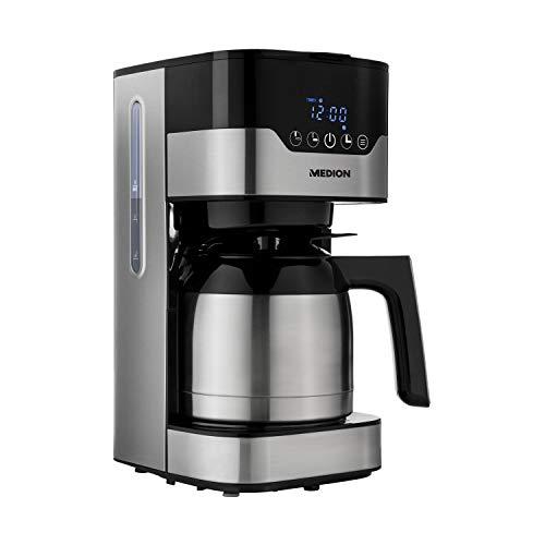 MEDION Kaffemaschine mit Thermoskanne und Timer (Filtermaschine, 8-10 Tassen, 1,2 Liter, 900 Watt, 3 Stufen, Warmhaltefunktion, Timer Zeitschaltuhr, Antitropf, Display, MD18458) edelstahl