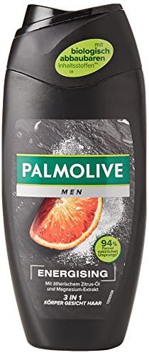 Palmolive Men Duschgel Energising 6 x 250ml - 3in1 für Körper, Gesicht & Haar - mit ätherischem Zitrus-Öl & Magnesium-Extrakt
