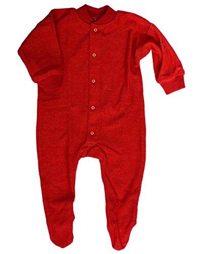 Cosilana, Schlafanzug/Strampler mit Fuß, 100% Wolle (kbT) (86, Rot)