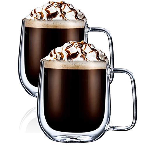 Digralne Doppelwandige Kaffeetassen Gläser mit Henkel - Isolierte transparente Thermo Latte Macchiato Milchsaft-Glasbecher - 250 ml, 2 Sätze…