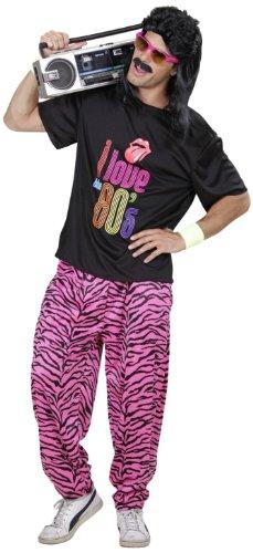 Widmann 9885Q - Erwachsenenkostüm, 80er Jahre T-shirt und Hose, angenehmer Tragekomfort, Assi Anzug, Proll Anzug, Retro Style, verschiedene Größen, Bad Taste Party, 80ties, Karneval