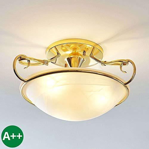 Lindby Deckenlampe 'Lonika' dimmbar in Gold/Messing aus Glas u.a. für Wohnzimmer & Esszimmer (3 flammig, E27, A++) - Deckenleuchte, Lampe, Wohnzimmerlampe