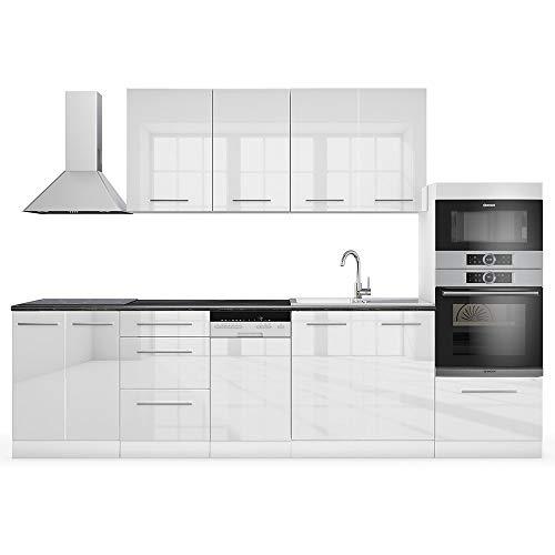 Vicco Küche S-Line Küchenzeile Küchenblock Einbauküche 295cm Weiß Hochglanz